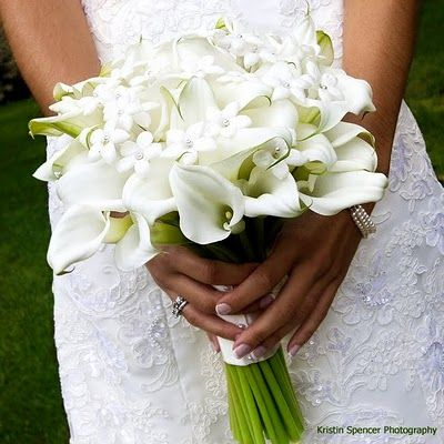 Stunning Bridal Bouquet Comprised Of: White Calla Lilies & Beautiful White Stephanotis~~