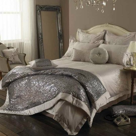 Glam up your bedroom with glitter. More decor ideas @BrightNest Blog @ MyHomeLookBookMyHomeLookBook I LOVE THE SPARKLY!
