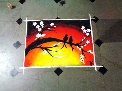 how to make two birds poster latest rangoli - K273 - YouTube