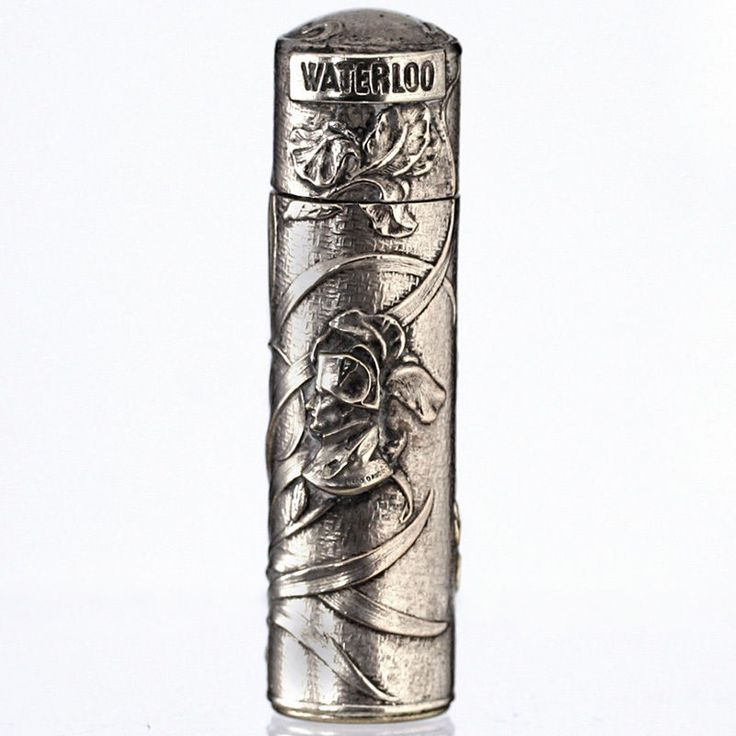 c.1915 silver plate Napoleon Waterloo commemorative scent perfume bottle