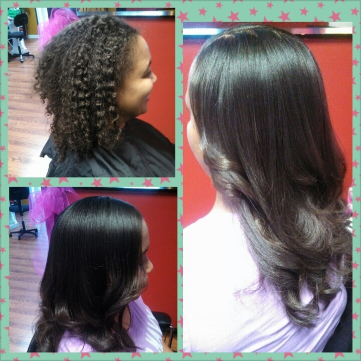 Before and after photo images of keratin treatments