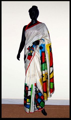 Exclusive White color Hand-painted saree on silk – Panache Haute Couture
