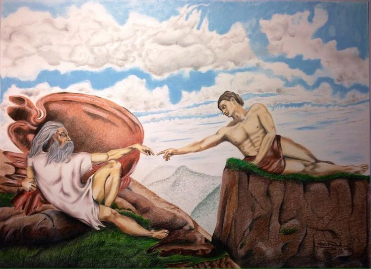 Creation Of The Creator - A reverse of Micheal Angelo's 'Creation of Adam'. I used colored pencils and pastels.
