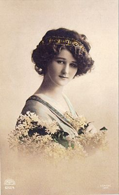 Vintage photograph of lady with flowers