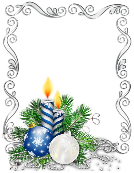 Large Transparent Silver Christmas Photo Frame with Blue Candles and Christmas Balls