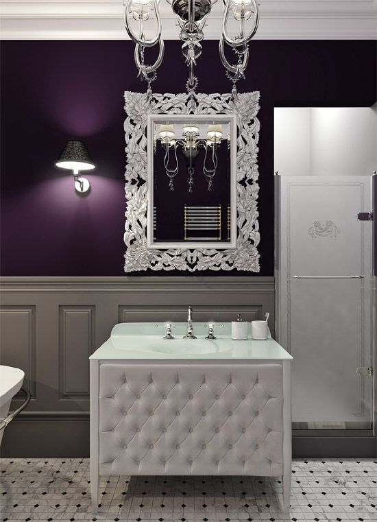 Inspiratie beeld. Mostly Luxury Classic Bathroom Furniture #paars #purple #badkamer