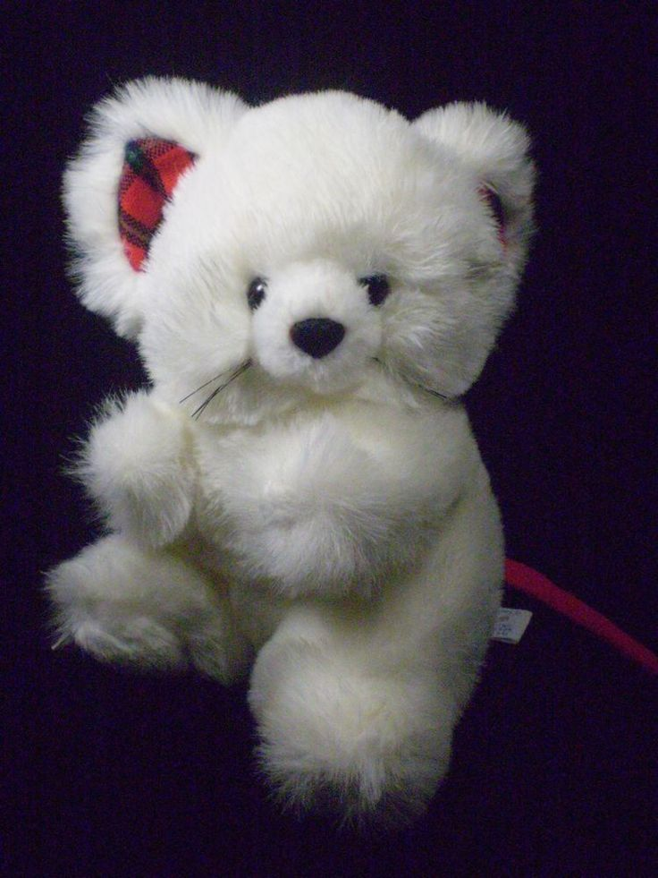 "Plush Mouse International Smile White Fluffy Stuffed Animal Plaid Ears 8""  #InternationalSmile"
