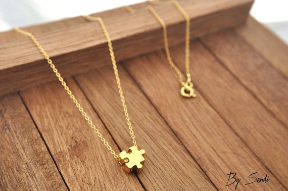 Sterling Silver Puzzle Necklace gold plated, Puzzle Charm, Puzzle Necklace, Puzzle Piece Pendant, Puzzle Necklace, Puzzle Piece, Silver