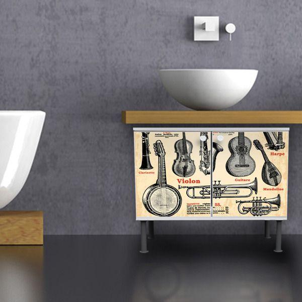 Instrumente Motiv Badschrank Kommode Waschbecken von banjado via dawanda.com