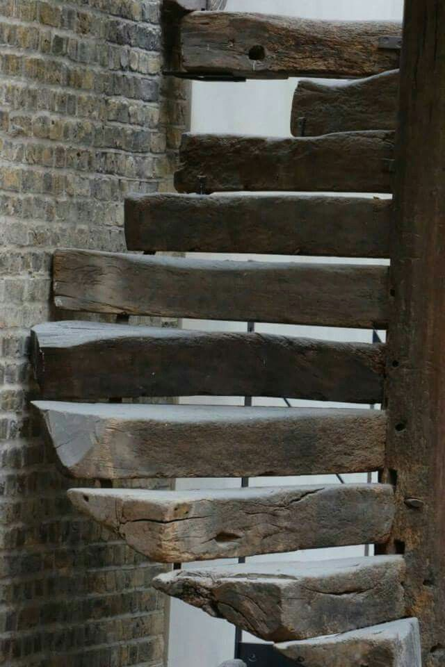 old wood stairs, live edged, stair straps