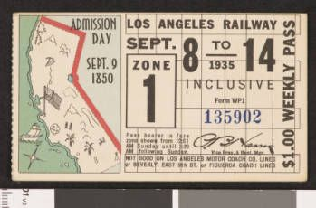 Los Angeles Railway weekly pass, 1935-09-08 :: LA as Subject