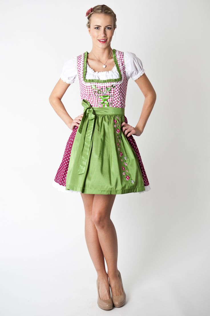 Trachten Dirndl Nele, Mini, pink/green - love the color ...
