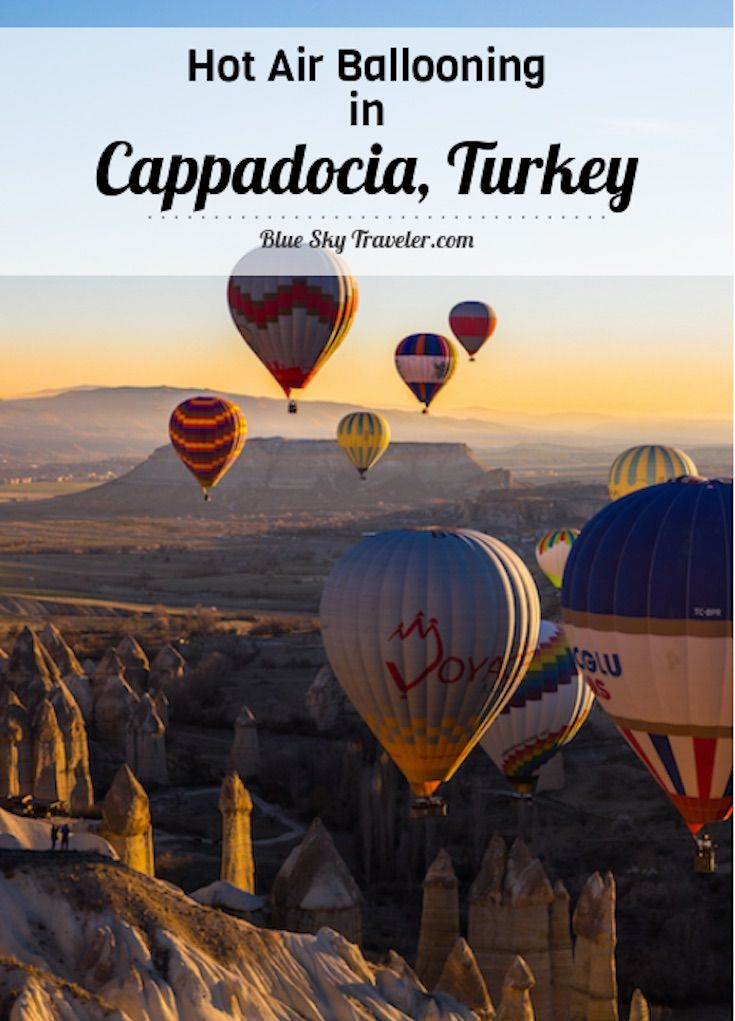 Hot Air Ballooning in Cappadocia Turkey:  It's not only the experience of floating above other-worldly landscapes, but the magical experience of being in the midst of dozens of other balloons greeting the morning light with you….And away we go! See more at http://BlueSkyTraveler.com