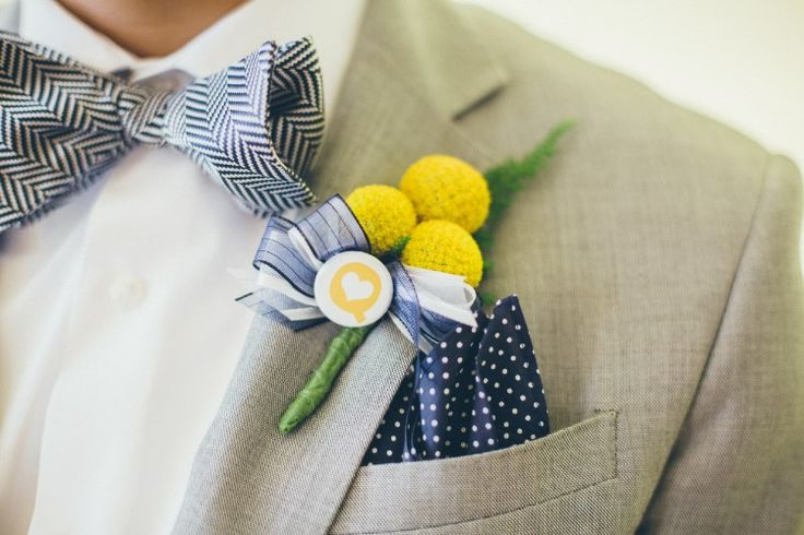 Colorful San Diego Wedding at Hilton San Diego Bayfront, CA  Unique yellow boutonniere!  Photographer:  Fonyat Photographer