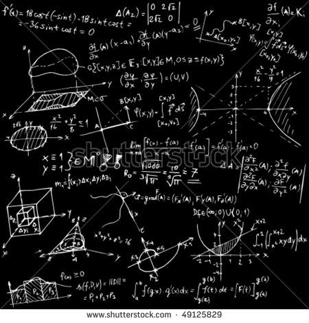 Mathematical equations and sketches - vector illustration