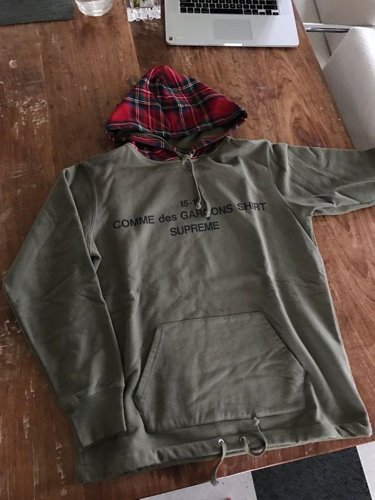 Comme Des Garcons × Supreme Olive Cdg Shirt Hoodie Size S $630 - Grailed