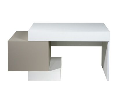 SCHREIBTISCH ''HYPE'' - 1-türig, 1 Schublade, weiss und taupe-grau lackiert - Artikelnummer :   167125