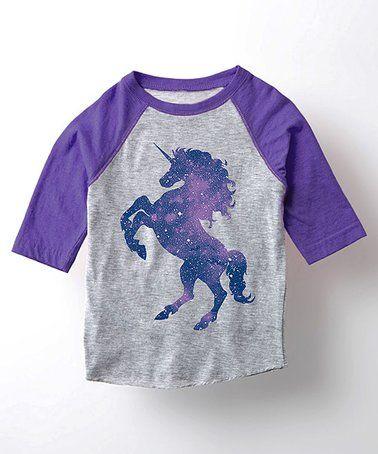 Look what I found on #zulily! Athletic Heather & Purple Unicorn Raglan Tee - Toddler & Girls #zulilyfinds