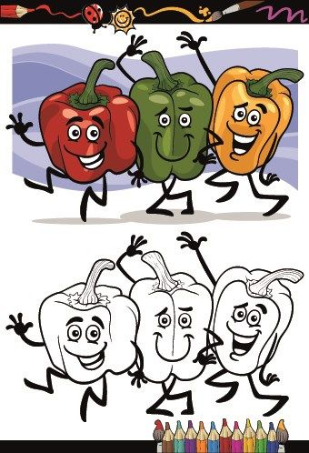 Funny Cartoon Vegetables vector 01