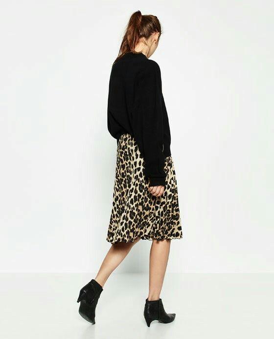 Gonna plissé leopardata Zara