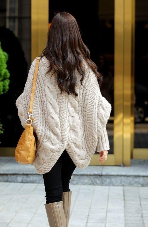 batwing sleeve cloak cardigan twisted sweater cape outerwear