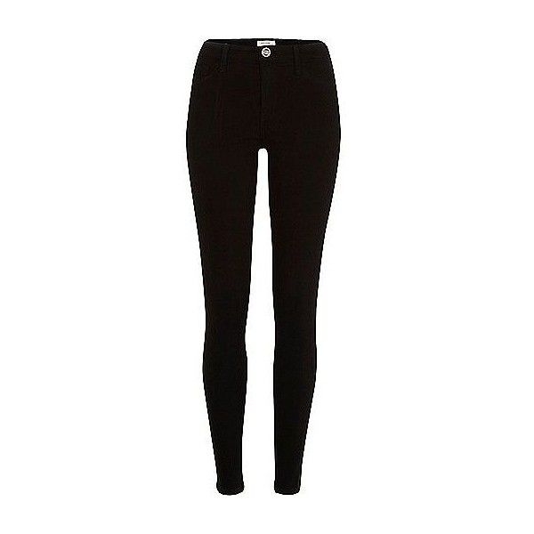 River Island Black Molly reform jeggings (£64) ❤ liked on Polyvore featuring pants, leggings, bottoms, jeans, trousers, zip pants, jeggings leggings, tall jeggings, zipper trousers and skinny jean leggings
