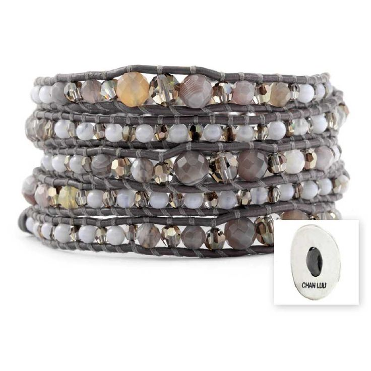 Chan Luu Botswana Agate Mix 5-Wrap Leather Bracelet