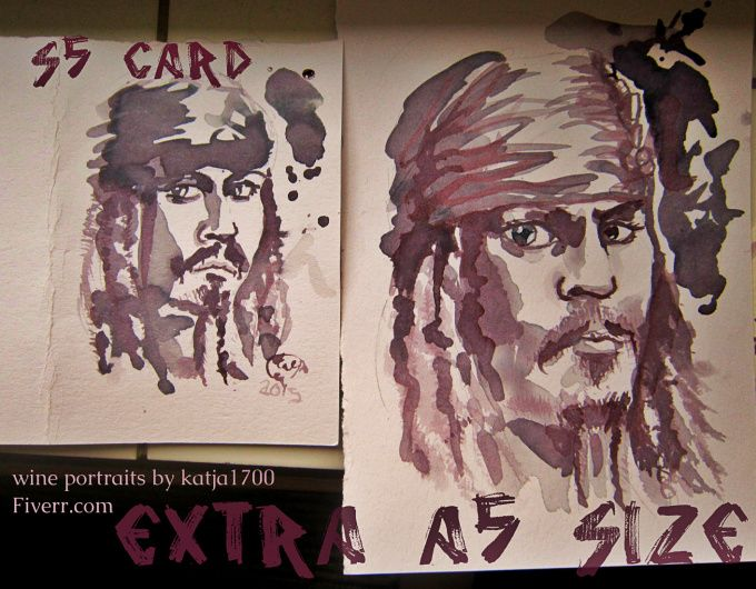 Captain Jack Sparrow as a wine painting Wine portraits - yes, portraits painted with wine as the paint... from fiverr.com/katja1700