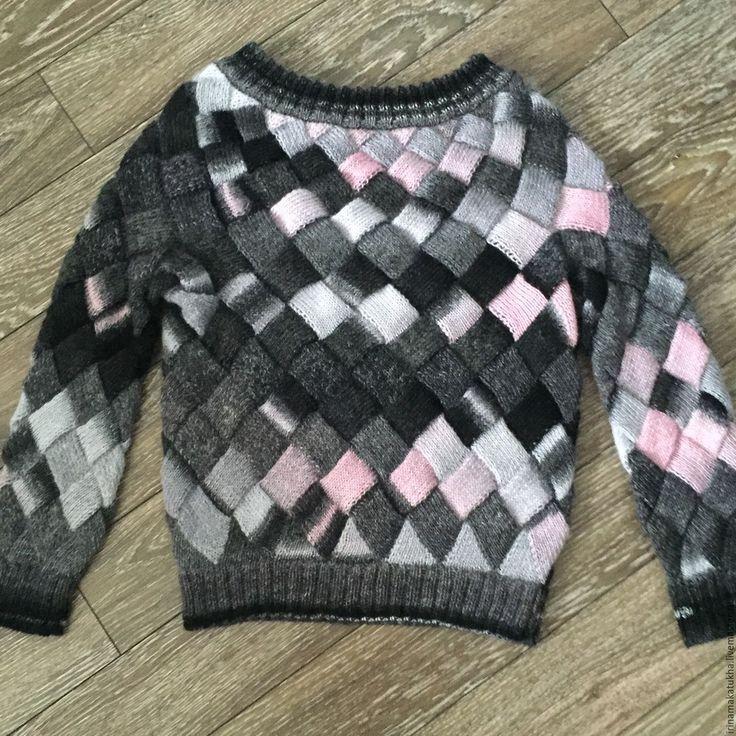 Купить Свитер бесшовный Черно/серо/розовый - черно-белый, розовый, свитер, свитер женский, свитер вязаный