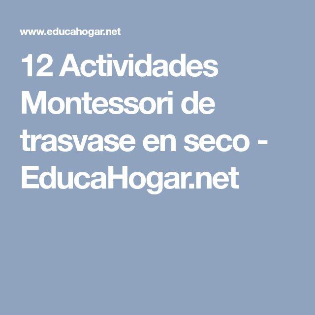 12 Actividades Montessori de trasvase en seco - EducaHogar.net