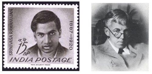 Left: Indian postage stamp issued in 1962, the 75th anniversary of Ramanujan's birth. RIght: G H Hardy. http://thatsmaths.com/2012/12/06/ramanujans-lost-notebook/