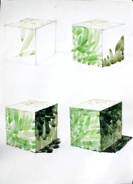육면체그리기-단색으로만 표현하기 파란색계열로 그리기 녹색으로그리기 따뜻한색으로 표현하기 단계별 표현하기-채도를 낮추어 저채도로 표현하기 거리감을 주면서 표현하기 뒷배경을 번지기로 표현하기 육면체를 여러개 나열하여 표현하기 육면체를 노랑계열 초록계열 파랑계열로