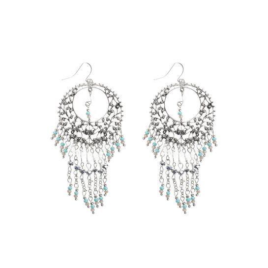 Silver Beaded Drop Earrings