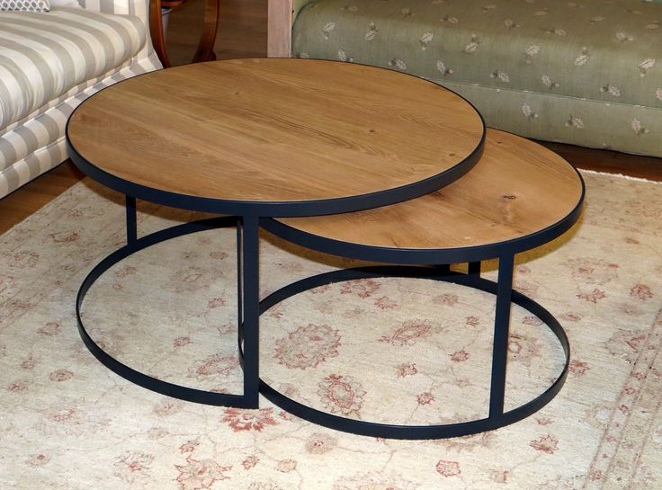 Mild steel frames with solid oak tops, made to order