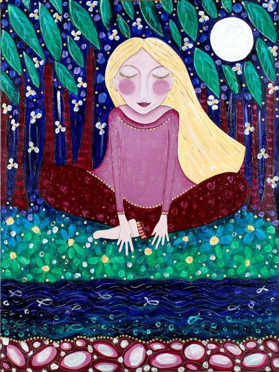 Blonde girl meditating print yoga meditation art whimsical Folk art painting Inspirational wall decor -  'Touch The Earth'