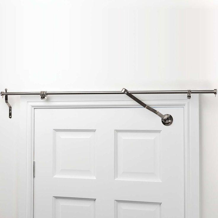 Satin Steel Door Curtain Pole   Dunelm