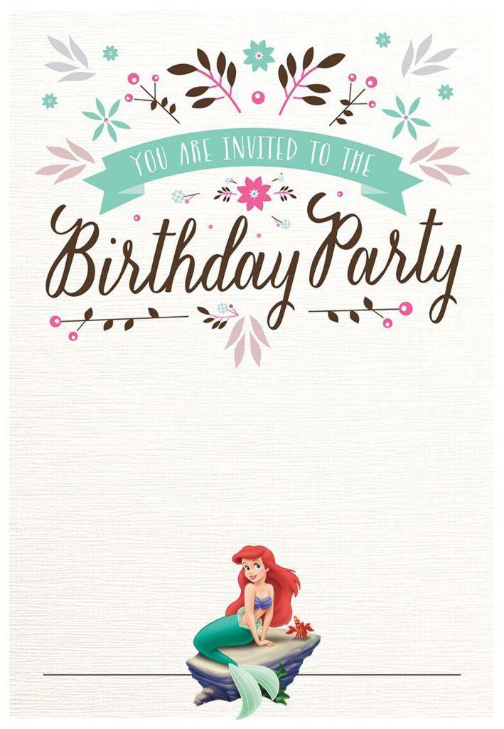 Little Mermaid Birthday Party Invitation Free Birthday Invitation Templates Little Mermaid Invitations Mermaid Birthday Party Invitations