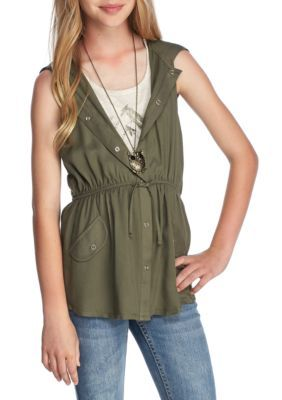 Beautees Girls' Graphic Tank And Hooded Cozy 2Fer Girls 7-16 - Olive - Xl