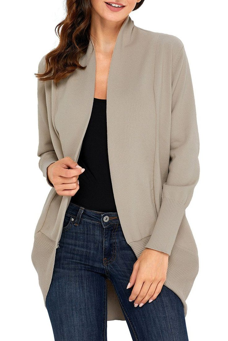 Khaki Super Soft Long Sleeve Open Cardigan modeshe.com