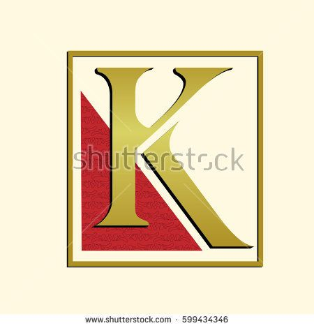 vector icon and symbol simple logo letter k gold k