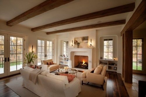 Combining wood beams and white trim home interiors - Wood beams in living room ...