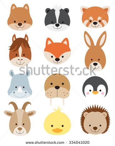 Vector illustration of animal faces including squirrel, hamster, skunk, red panda, horse, fox, kangaroo, rhino, walrus, penguin, goat, duck, and hedgehog. - stock vector