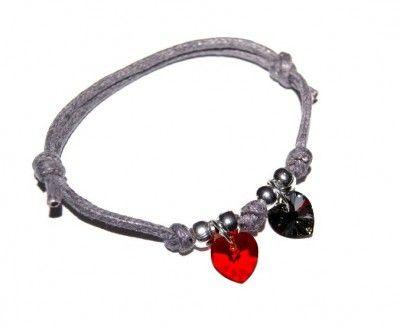 Bransoletki Sznurkowe z Dwoma Kryształkami Swarovski Heart #Swarovski #jewelry #bizuteria