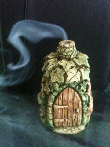 Faerie House for use with incense cones….Fairy Home…Cottage for Fairies                                                                                                                                                     More
