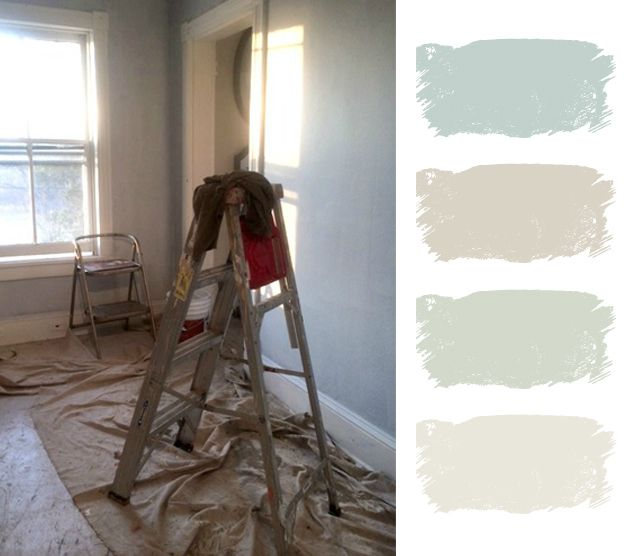 The paint colors used were all Benjamin Moore: Woodlawn Blue, Baby Fawn, Thornton Sage, & Dove Wing.