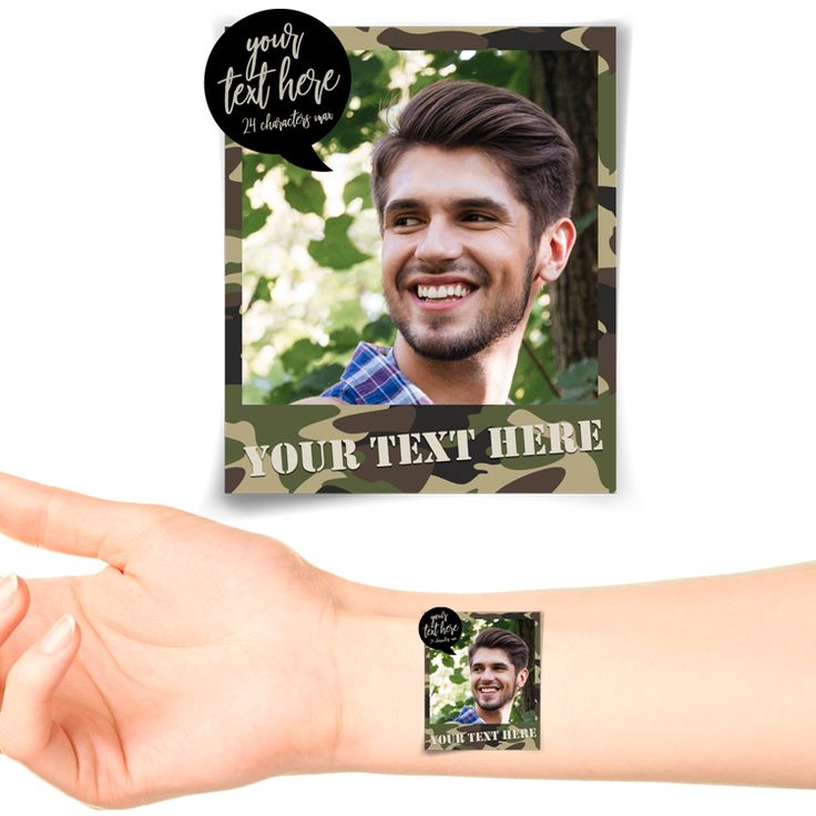 Camo Polaroid Photo Personalised Tattoo #1180 (20 pack)