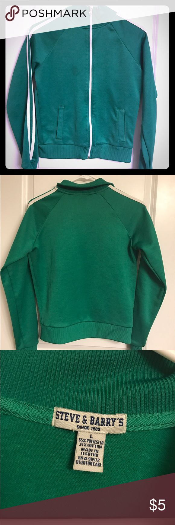 Green athletic zip up Athletic jacket from Steve and Barry's. Children's large but fits like a women's small. Has a small faded mark to the left of the zipper as shown in photo. Tops Sweatshirts & Hoodies