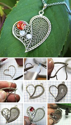 Wire wrapped heart-shaped pendant