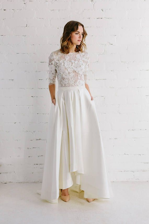 c4b8d75539af94 Bridal lace top - AMBER Wedding top created of couture lace in off white (  soft ivory ) and lined with soft thin floral french lace . Top accented with  3D ...