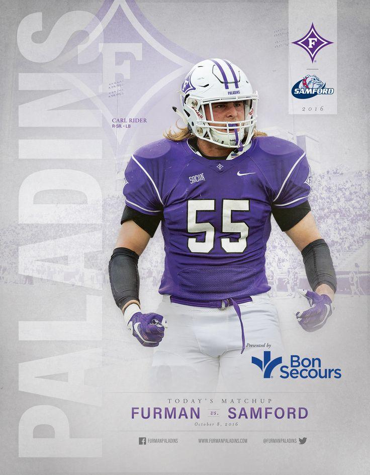 The 2016 @furmanuniv Paladins Football Roster Card vs. Samford Bulldogs features redshirt senior linebacker Carl Rider.